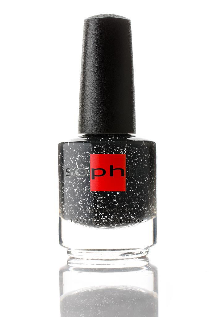 SOPHIN Лак для ногтей, светло-черная база с белыми неблестящим глиттером 12мл