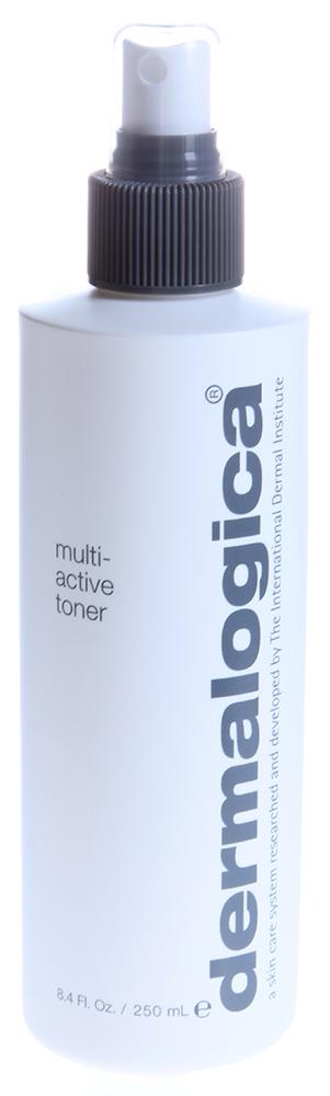 DERMALOGICA Тонер мультиактивный / Multi Active Toner 250млТоники<br>Мультиактивный Тонер Multi Active Toner - удобное в использовании средство, которые подходит для любого типа кожи, и является настоящей находкой для людей, ведущих активный образ жизни. Увлажняющий и освежающий тонер обладает восстанавливающим действием, насыщенный концентрат Алоэ Вера, входящий в его состав, обеспечивает смягчение и заживление кожи, а лаванда, мята и арника увлажняют и восстанавливают ее.  Активные ингредиенты: Концентрат Алоэ Вера, лаванда, мята, арника.  Способ применения: Закройте глаза, распылите средство на лицо и шею, после чего немедленно нанесите увлажняющее средство. Используйте тонер несколько раз в день.<br><br>Возраст применения: После 25