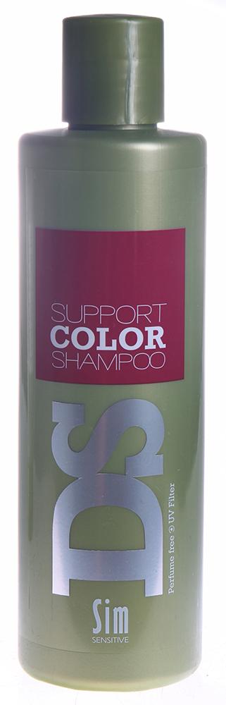 SIM SENSITIVE Шампунь для яркости цвета окрашенных волос Саппорт Колор / Support Color Shampoo DS 250млШампуни<br>Шампунь &amp;laquo;Саппорт Колор&amp;raquo; входит в состав комплекса  Саппорт Колор  DS by Sim Sensitive. Шампунь не только эффективно очищает кожу головы и волосы, но и поддерживает окрашенные волосы в превосходном состоянии, сохранят яркость и контраст цвета. Уникальной особенностью шампуня  Саппорт Колор  является то, что он также успокаивает и восстанавливает раздражённую после окрашивания кожу головы, возвращая ей комфортное состояние. Активные ингредиенты: Гуар шелковый, лимонная кислота, витамин  Е , глицерин, пантенол. Кроме них, шампунь снабжен УФ-фильтром, защищающим волосы от ультрафиолета. Шампунь не содержит сульфаты, парабены и ароматизаторы. Способ применения: Нанесите на влажные волосы, вспеньте и смойте. При необходимости повторите.<br><br>Типы волос: Окрашенные
