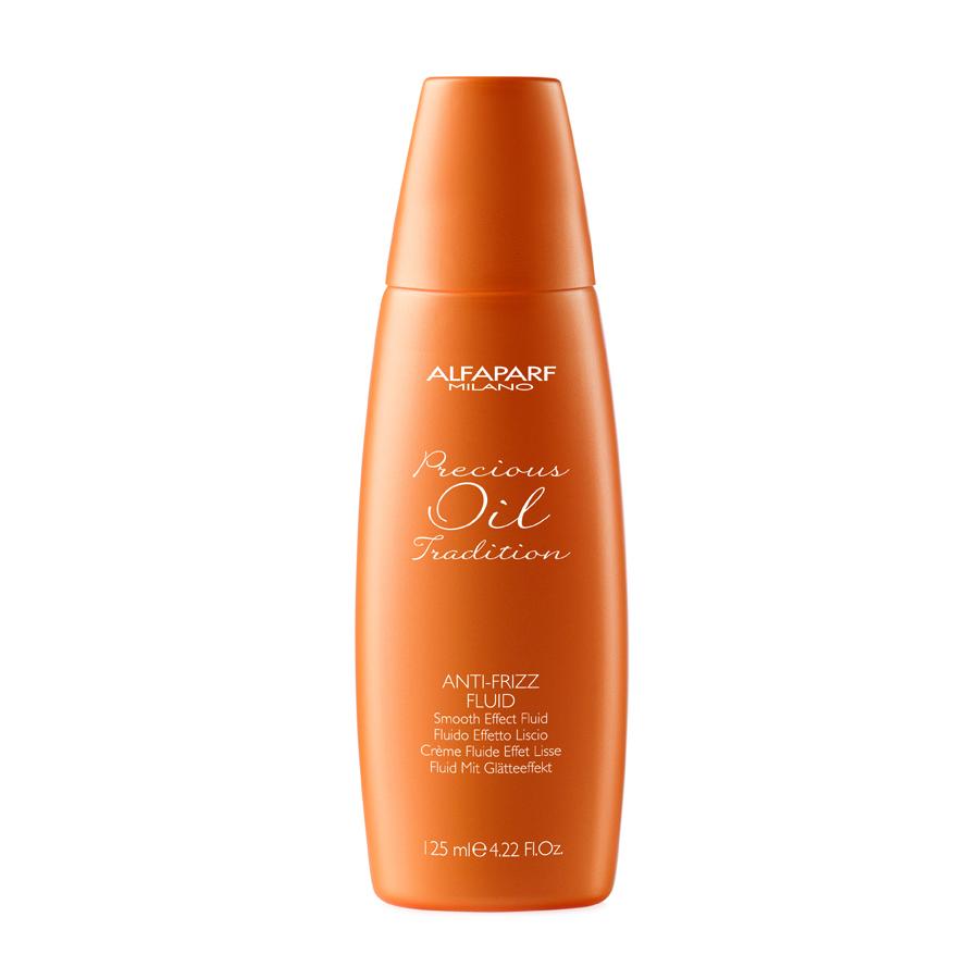 ALFAPARF MILANO Флюид разглаживающий для всех типов волос / PRECIOUS OIL TRADITION ANTI-FRIZZ FLUID 125млФлюиды<br>Выравнивает волокна волос для уменьшения объёма. Защищает от влаги. Волосы дольше остаются чистыми. Наносить на влажные волосы перед укладкой. Идеально подходит для нанесения на ночь. Способ применения:&amp;nbsp;нанести 5-6 капель средства на сухие или влажные волосы, равномерно распределить. Не смывать.<br><br>Объем: 125 мл<br>Вид средства для волос: Разглаживающий