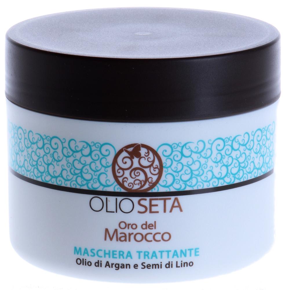 BAREX Маска питательная с маслом арганы и маслом семян льна / OLIOSETA ORO DEL MOROCCO 250млМаски<br>Для всех типов волос, в особенности поврежденных, а также до или после проведения химических процедур. Настоящий волшебный эликсир для полного восстановления волос, благодаря магическим свойствам арганового масла. Эта насыщенная маска мгновенно проникает вглубь структуры волоса, восстанавливая поврежденные волокна, увлажняя их и придавая эластичность. Питательная маска используется в качестве интенсивной процедуры для укрепления волос: волосы становятся плотными, блестящими и легкими в укладке. Органически сертифицированное масло арганы обладает антиоксидантным действием, возвращает жизненную силу волосам и придает им здоровый блеск. Органически сертифицированное масло семян льна защищает волосы от влажности и негативного влияния внешней среды. Активные ингредиенты: аргановое масло, органически сертифицированное масло семян льна. Способ применения: после использования Питательного шампуня серии Oro del Marocco нанести на влажные волосы и расчесать. Оставить для воздействия на 3-5 минут, после чего смыть большим количеством воды. Для оптимальных результатов использовать не менее двух раз в неделю. При профессиональном использовании для интенсивного действия на очень поврежденных волосах смешать в миске Питательную маску с 5 мл Масла  уход серии Oro Del Marocco. При помощи кисточки распределить смесь от корней до кончиков на выбранные пряди. Оставить для воздействия на 10 минут, после чего смыть большим количеством воды.<br><br>Объем: 250<br>Класс косметики: Профессиональная