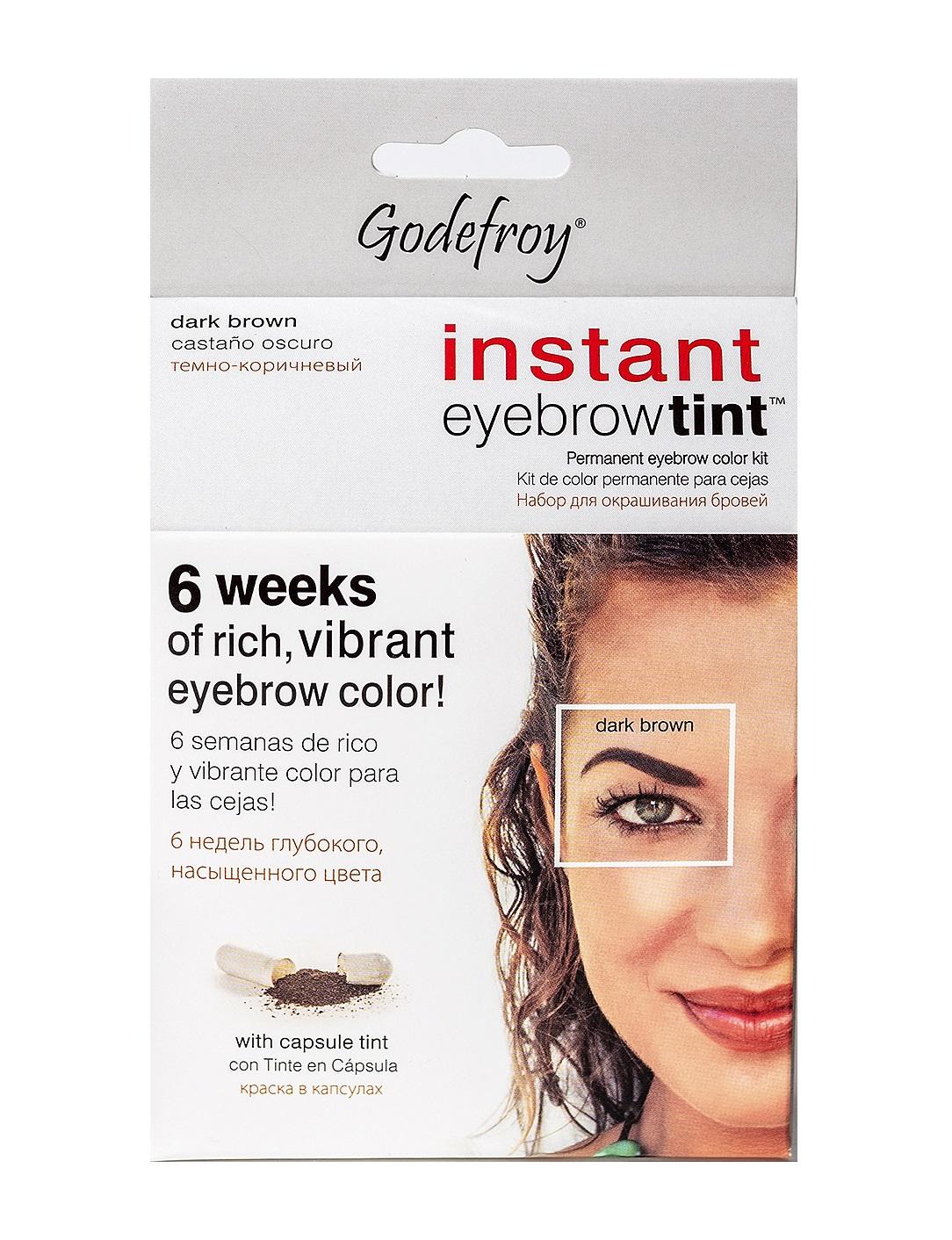 GODEFROY Краска-хна в капсулах для бровей с эффектом татуажа, темно-коричневый / Eyebrow Tint Dark Brown 15 шт