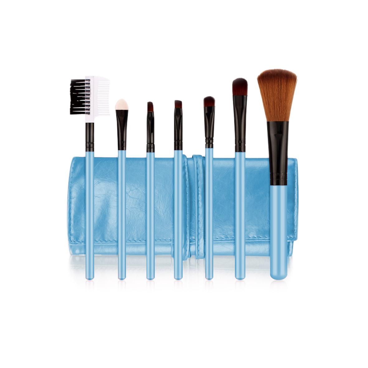 POSH Набор кистей для профессионального макияжа (волокно кинеколон), голубой кожаный чехол 7шт