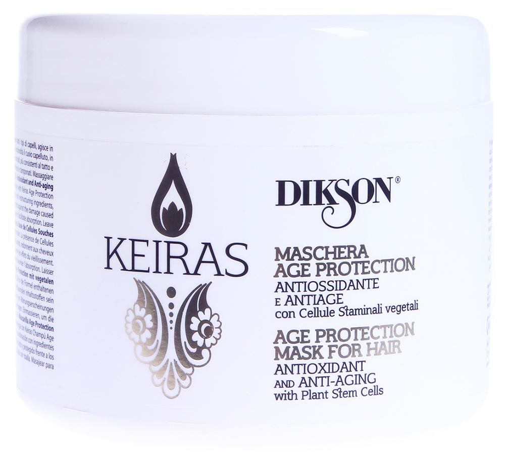 DIKSON Маска тонизирующая со стволовыми клетками / MASCHERA AGE PROTECTION KEIRAS 500млМаски<br>Идеально подходит для всех типов волос, действует в синергии c Shampoo Age Protection . Моментально действующий комплекс устанавливает оптимальное восстановление волокна, оказывает anti-age эффект. Стволовые клетки листьев Сирени укрепляют волосы, делая их более объемными и эластичными, способствуя укреплению корней.  Активные ингредиенты: Стволовые клетки листьев сирени. Способ применения: Распределить маску на влажные волосы, расчесать. Время выдержки 5-15 минут, смыть.<br><br>Вид средства для волос: Тонизирующий
