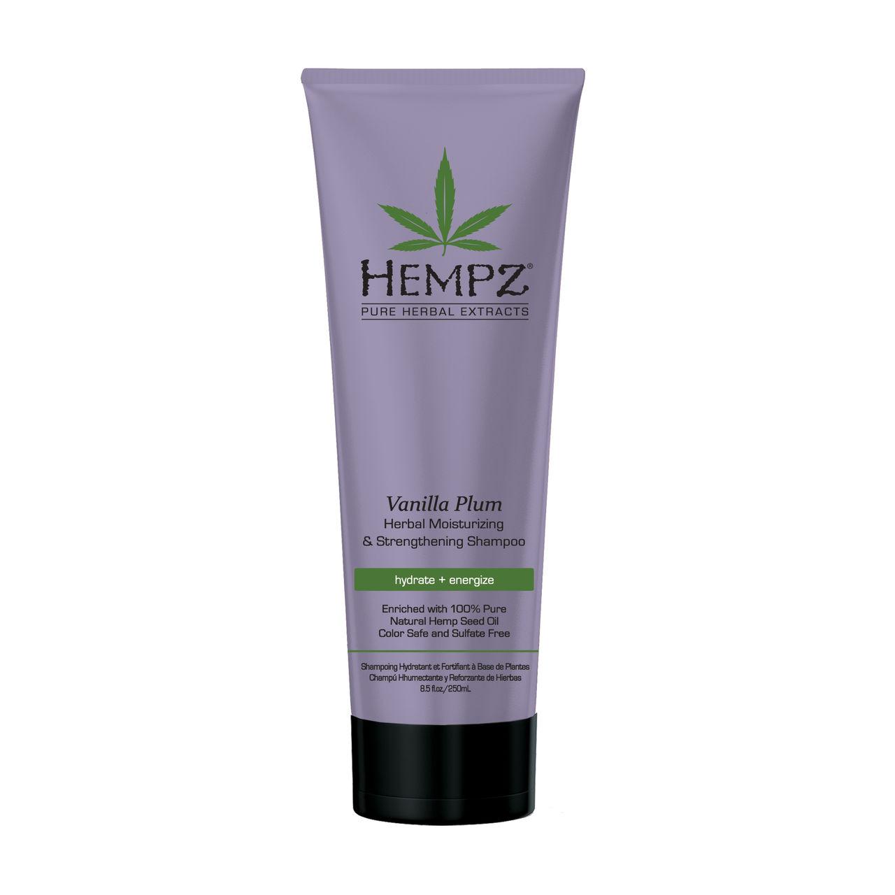 HEMPZ Шампунь растительный Ваниль и Слива средней степени увлажнения для ослабленных волос 265мл