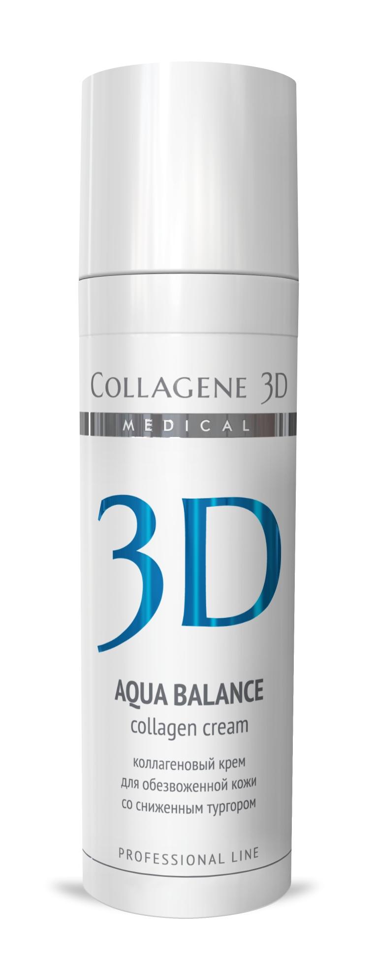 MEDICAL COLLAGENE 3D Крем с коллагеном и гиалуроновой кислотой для лица Aqua Balance 30мл проф.Кремы<br>Легкая нежирная текстура крема быстро впитывается, служит прекрасной основой под макияж. Нативный коллаген и гиалуроновая кислота способствуют омоложению и разглаживанию морщин изнутри, натуральные масла оливы и персика питают, увлажняют, обеспечивают естественную защиту, пантенол способствует заживлению и обновлению кожи, витамины А и Е   мощные липофильные антиоксиданты. Активные ингредиенты: нативный трехспиральный коллаген, гиалуроновая кислота, масло оливы, персиковое масло, пантенол, витамин А, витамин Е. Способ применения: нанести тонким слоем на предварительно очищенную кожу лица, шеи и область декольте. Кремы рекомендуются как для экспресс-процедур, так и для курсового применения. Курсовое применение: 8-10 процедур. Проводить по 1 процедуре ежедневно или через день. Поддерживающие процедуры следует проводить 1 раз в неделю.<br><br>Вид средства для лица: Легкий<br>Типы кожи: Сухая и обезвоженная<br>Назначение: Морщины<br>Консистенция: Нежирная