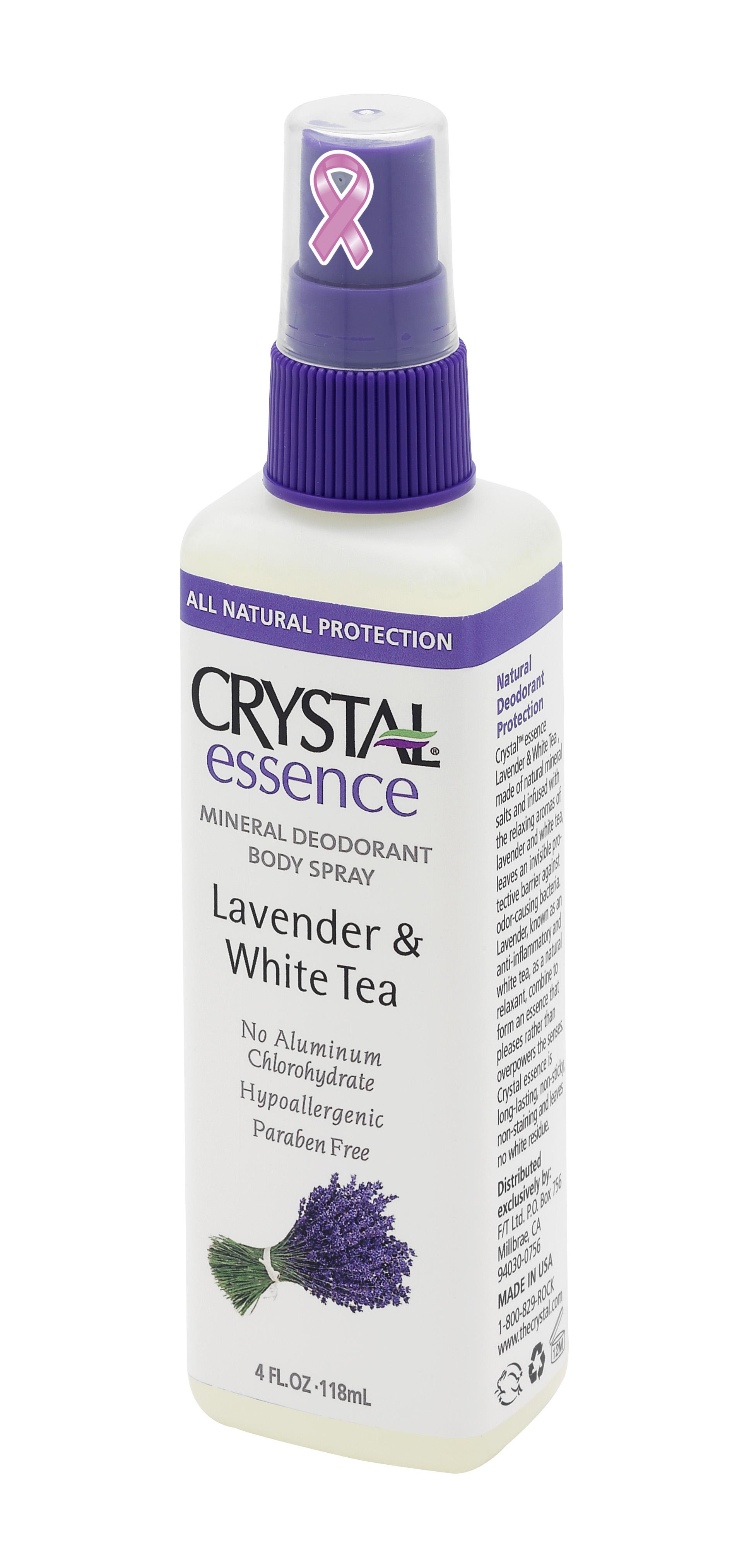 CRYSTAL Дезoдорант-спрей Лаванда+Белый чай / Crystal Sprey Lavender &amp; White Tea 118млДезодоранты<br>Антибактериальный дезодорант-спрей Кристалл Эссенсе для тела. Создан на основе натуральных минеральных солей с экстрактами Лаванды и Белого чая. Обладает мощным антибактериальным эффектом в сочетании с легкими и нежными ароматами Лаванды и Белого чая. Содержит экстракт Лаванды и Белого чая, которые оказывают противовоспалительное и расслабляющее действие на Вашу кожу. Улучшенная конструкция спрея-распылителя позволяет нежно и экономно нанести дезодорант на Вашу кожу. Не содержит консервантов, не вызывает аллергии. Не прилипает и не оставляет белых следов или разводов на одежде. Активные ингредиенты: натуральные минеральные соли (Potassium Alum), очищенная вода, квасцы калия, эфирные масла, целлюлоза, экстракт Лаванды и Белого чая Способ применения: нажимая на распылитель нанести дезодорант на чистую кожу в утреннее время, после душа или ванны.<br>