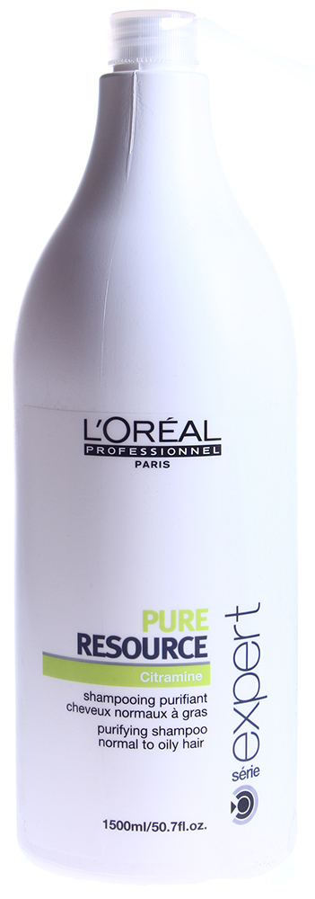 LOREAL PROFESSIONNEL Шампунь очищающий для склонных к жирности волос / ПЮР РЕСОРС 1500млШампуни<br>Шампунь для нормальных и жирных волос Пьюр Ресорс Лореаль Pure Resourse Loreal обладает хорошим очищающим действием и работает после первого применения. Очищающий шампунь Пьюр Ресорс обогащен антиоксидантами. Шампунь Pure Resourse Loreal изготовлен на основе воды повышенной очистки. В состав данного средства входит активный компонент против жесткости воды. Очищающий шампунь создан по технологии PUR BALANCE. Препарат активно стимулирует регенерацию гидролипидной пленки кожи головы. Благодаря используемой технологии, шампунь эффективно устраняет избыток кожного жира на волосах. Волосы мягкие, легкие и блестящие, чистая кожа головы. Активный состав: Вода, лауретсульфат натрия, протеины, свободные аминокислоты, липиды, витамин E, витаминный комплекс, ухаживающая формула, би-анионная база. Применение: Равномерно нанести на влажные волосы. Вспенить. Тщательно смыть. При необходимости повторить. При попадании в глаза немедленно промыть водой.<br><br>Объем: 1500<br>Вид средства для волос: Очищающий