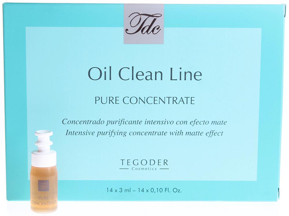TEGOR Гель для проблемной кожи / Pure Concentrate OIL CLEAN 14*3млГели<br>Данное средство поможет избавиться от таких косметических проблем, как черные точки и воспалительные элементы в области лица. Одним из основных компонентов лосьона  Pure concentrate  от Тегор является экстракт мирры, который обладает эффективным бактериостатическим, антисептическим и противовоспалительным действием, регулирует выработку кожного сала, наполняет кожу восхитительным свежим ароматом. Регулярное применение лосьона  Pure concentrate  от Tegor придаст вашей коже приятную бархатистость и восхитительную матовость. Активный состав:&amp;nbsp;Экстракты иланг-иланга, мирры, крапивы, ивы, алоэ, горечавки и лопуха, витамины А, С и Е, гиалуроновая кислота, бисаболол, пивные дрожжи. Способ применения: Нанесите необходимое количество лосьона  Pure concentrate  от Тегор на чистую кожу. Массируйте до полного впитывания. &amp;nbsp;<br><br>Объем: 14Х3<br>Типы кожи: Проблемная<br>Назначение: Черные точки