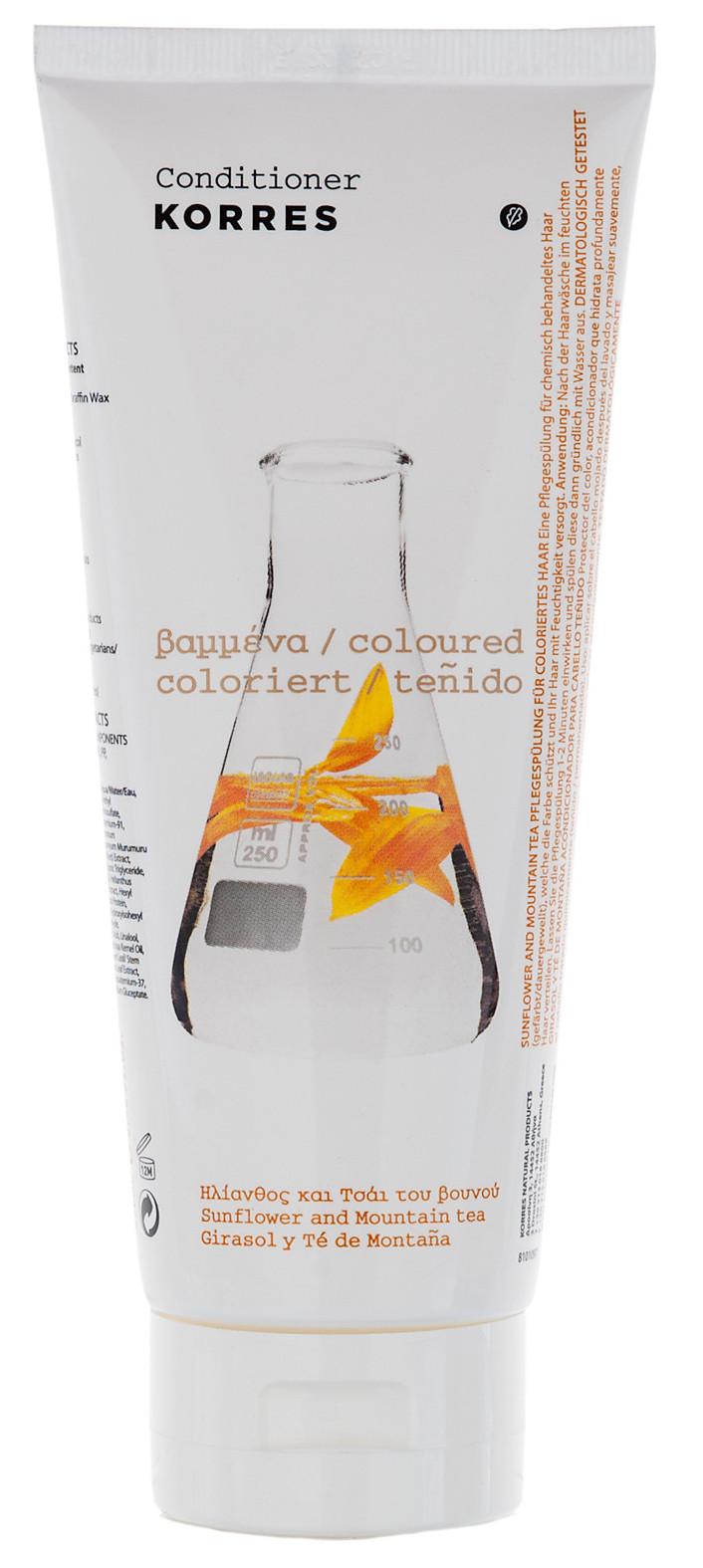 Korres кондиционер для окрашенных волос, подсолнух и гаультерия
