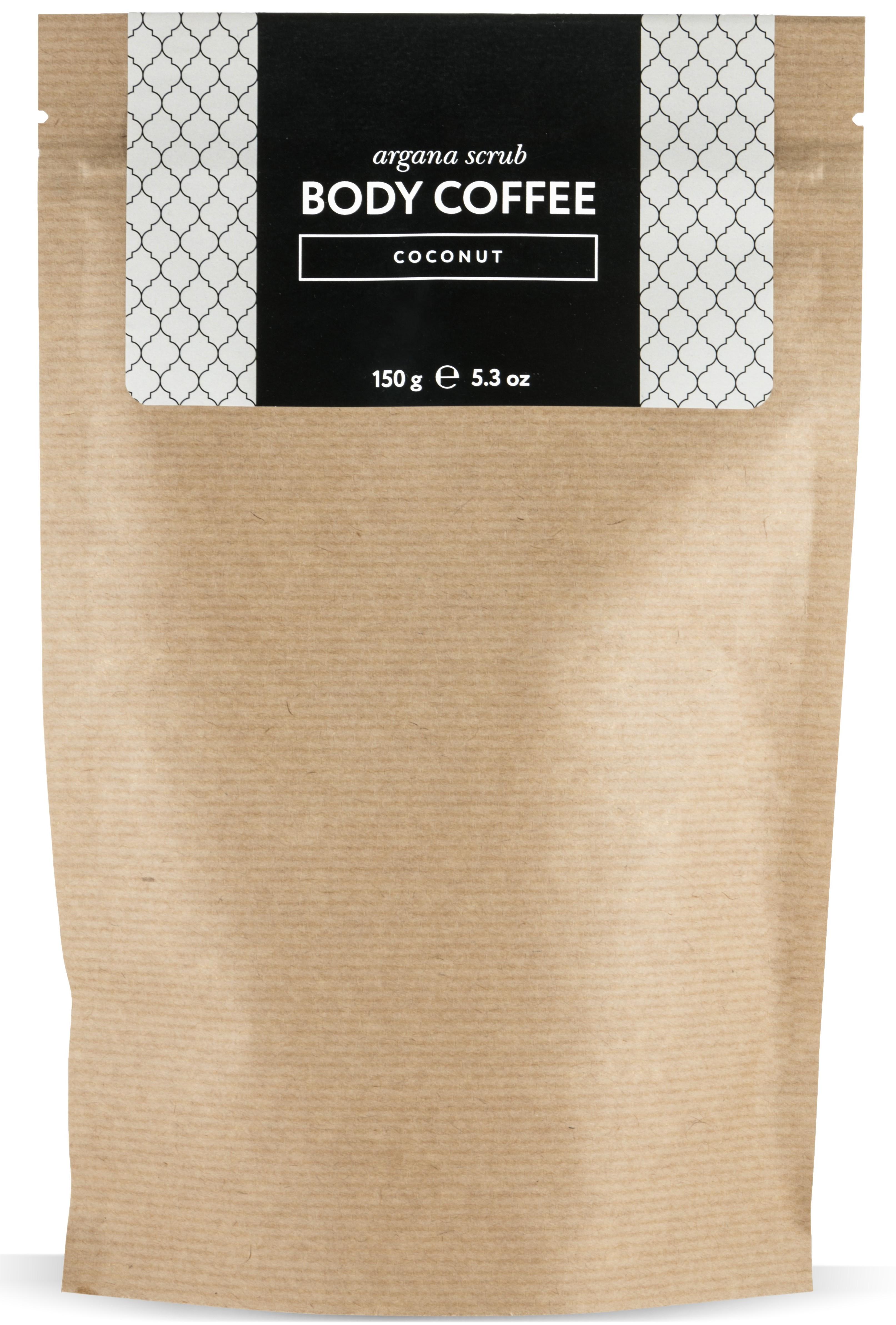 HUILARGAN Скраб аргановый кофейный для тела, кокос 150 г