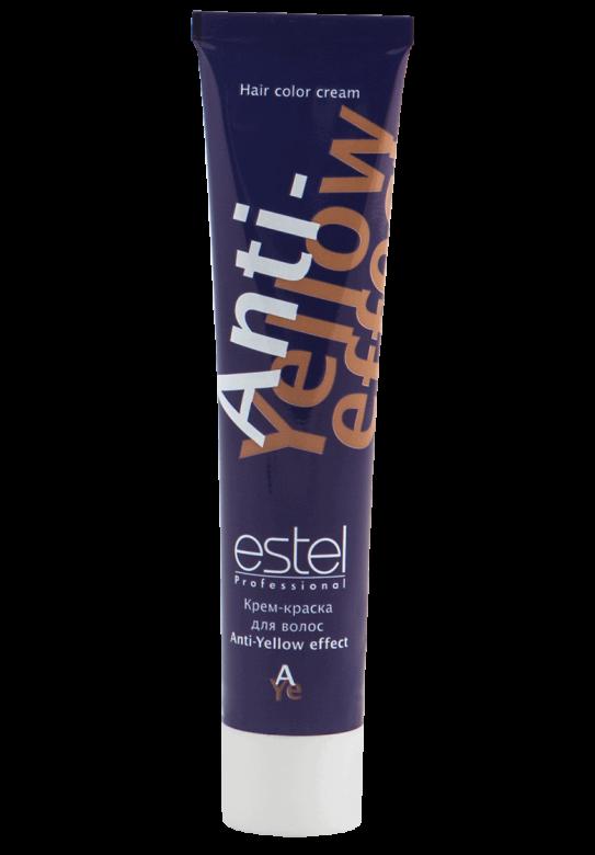 ESTEL PROFESSIONAL ANTI-YELLOW EFFECT/ краска д/волос 60млКраски<br>Эффективно нейтрализует жёлтый оттенок, деликатно ухаживает за волосами,придаёт сияющий перламутровый блеск. Крем-краска легко смешивается, обладает мягкой, эластичной консистенцией и приятным запахом, экономична в использовании. Масло авокадо, пантенол и экстракт оливы обеспечивают глубокое питание и увлажнение, кератиновый комплекс восстанавливает структуру и естественную эластичность волос. Только для профессионального применения. Крем-краска применяется на горячий блонд   сразу после применения обесцвечивающей пудры, на корни или по всей длине, при попрядном обесцвечивании или на холодный блонд   на ранее обесцвеченные волосы, на ранее мелированные волосы Активные ингредиенты: масло авокадо, пантенол, экстракт оливы, кератиновый комплекс. Способ применения:&amp;nbsp;крем-краска Anti-Yellow effect (1 часть) смешивается с оксигентом 3% (1 часть) или активатором 1,5% (2 части). Используйте защитные перчатки. Краска наносится на сухие или предварительно вымытые шампунем и подсушенные полотенцем волосы. Процесс нанесения смеси на волосы не должен превышать 5-10 минут. Время выдержки: 15 минут. Внимание! Если волосы пористые, время выдержки составляет 5-10 минут (под наблюдением мастера). В процессе выдержки рекомендуется проверять протекание процесса нейтрализации или тонирования. По окончании времени воздействия тщательно смыть крем-краску шампунем для окрашенных волос.&amp;nbsp;<br><br>Цвет: Блонд<br>Объем: 60<br>Вид средства для волос: Кератиновая<br>Класс косметики: Профессиональная