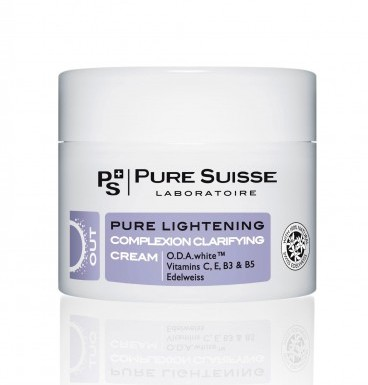 PURE SUISSE Крем корректирующий для сияния кожи / Pure Lightening 50млКремы<br>Шаг 2. Интенсивный уход - Корректирующий осветляющий крем Pure Lightening. Высокоэффективный комплекс ингредиентов снижает синтез меланина и повышает способность кожи к регенерации, устраняет неровный тон кожи и тёмные пигментные пятна. Тон кожи становится ровным и сияющим день за днём. O.D.A.white  замедляет синтез меланина. Сквален оказывает мягкое увлажняющее действие, способствует регенерации кожи. Провитамин В5 (Panthenol) увлажняет и оказывает противовоспалительное действие. Витамин B3 (ниацин)   антиоксидант, способствует репарации ДНК. Экстракт эдельвейса имеет антиоксидантные свойства, способствует регенерации клеток кожи. Витамин C является антиоксидантом, стимулирует выработку коллагена. Витамин E защищает клеточные мембраны от повреждений свободными радикалами. Бисаболол успокаивает раздраженную кожу. Активные ингредиенты: O.D.A.white , сквален, провитамин В5 (Panthenol), витамин B3 (ниацин), экстракт эдельвейса, витамин C, витамин E, бисаболол. Способ применения: 1 или 2 раза в день нанести на очищенную кожу лица и шеи. Для максимального эффекта рекомендуется использовать в сочетании с пищевой добавкой Pure Radiance.<br><br>Вид средства для лица: Отбеливающий<br>Назначение: Пигментация