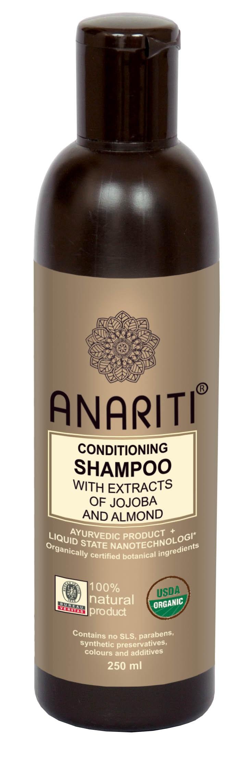 ANARITI Шампунь кондиционирующий с экстрактом жожоба и миндаля/ SHAMPOO CONDITIONING 250 млШампуни<br>Рекомендуется для сухих, поврежденных , химически обработанных волос. Шампунь восстанавливает гидролипидный баланс волос и кожи головы, защищает волосы от солнца и&amp;nbsp;химической обработки. Экстракты жожоба и миндаля питают, восстанавливают и увлажняют волосяные стержни и кожу головы. Шампунь придает волосам мягкость, объем, &amp;nbsp;здоровый блеск и эластичность Активные ингредиенты: экстракт плодов сапиндуса (мыльных орешков), экстракт акации шикакай (мыльные бобы), кокос, дериватив сахарного тростника, экстракт алое вера, экстракт сладкого миндаля, экстракт эклипты белой, масло зародышей пшеницы, экстракт жожоба, экстракт амлы, экстракт дикого шафрана (сафлора), вода, краситель   белая эклипта, отдушка   белая эклипта, консервант   масло чайного дерева Способ применения:&amp;nbsp;нанести небольшое количество шампуня на влажную кожу головы и волосы. Равномерно распределить по всей поверхности массажными движениями. Смыть<br><br>Тип: Шампунь-кондиционер<br>Объем: 250 мл