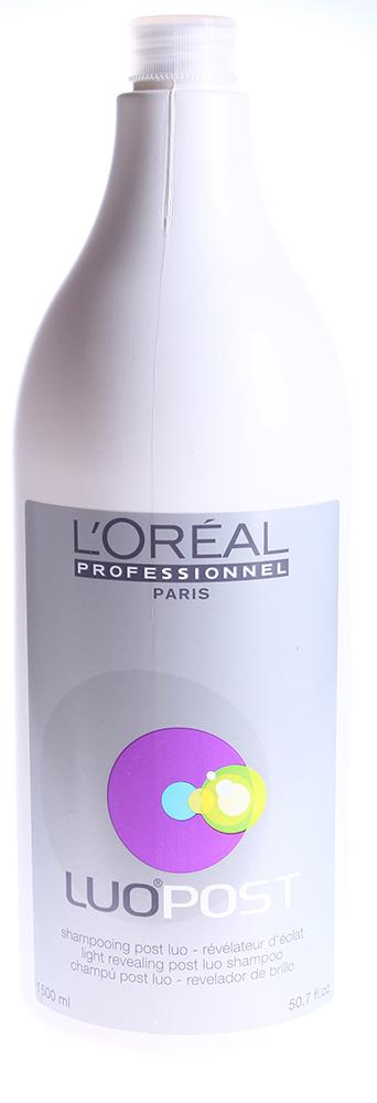 LOREAL PROFESSIONNEL Шампунь технический Луо Пост 1500млШампуни<br>Специальный шампунь для завершения процедуры окраски волос от L`Oreal Professionnel разработан специально для интенсивного ухода за окрашенными волосами. Комплекс активных компонентов, входящих в состав шампуня от Лореаль, усиливает действие Luo Color, делая цвет ваших волос более стойким и насыщенным.Усиливает ухаживающее воздействие красок для волос Luo Сolor. Сплачивает чешуйки волокон волос и укрепляет волосы. Формула Protect Shine действует в самом сердце волоса, глубоко восстанавливая его структуру, укрепляя и защищая в процессе окрашивания.Формула Reflect Shine способствует восстановлению поверхности волоса, а светоотражающие частицы позволяют достичь повышенного отражения света.  Активный состав: Формулы Protect Shine и Reflect Shine.  Применение: Нанесите необходимое количество шампуня от Лореаль на влажные волосы, вспеньте, помассируйте в течение нескольких минут, после чего тщательно смойте водой.<br><br>Объем: 1500<br>Типы волос: Окрашенные<br>Назначение: после окрашивания