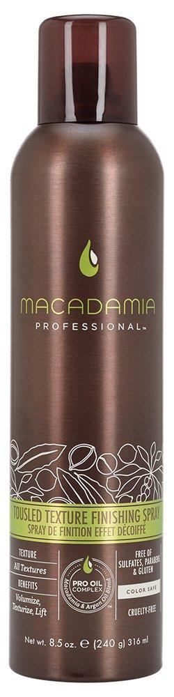 MACADAMIA PROFESSIONAL Финиш-спрей Небрежная укладка / Tousled Texture Finishing Spray 43грСпреи<br>Невесомый спрей Macadamia Professional с маслами арганы и макадамии создает великолепный объем и текстуру. Создает подвижную фиксацию, великолепный блеск и защиту от УФ-лучей. Идеален для волос любой длины и формы. Обеспечивает легкую фиксацию. Преимущества: Создает текстурированный объем по всей длине волос Сохраняет укладку длительное время Подходит для всех типов волос Активные ингредиенты: Масло макадамии Масло арганы Состав: Гидрофлюорокарбон 152А, Бутан, Спирт денатурированный, Сополимер ПВП/ винилацетат, Цеолит, Масло макадамии, Аргановое масло, Глицерин, Ацетил Триэтил Цитрат, отдушка, Гексил Циннамал, Линалоол, Бензил Салицилат, Бутилфенил Метилпропионал Способ применения: тщательно встряхните. Распылите с расстояния 20-25 см на сухие волосы. Создайте руками дополнительную текстуру прически.<br><br>Типы волос: Для всех типов