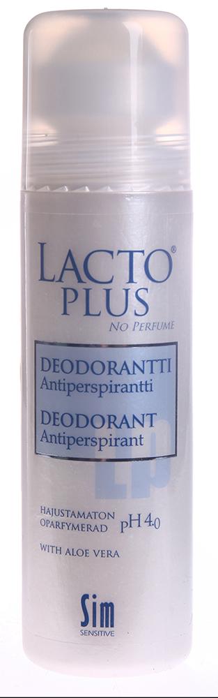 SIM SENSITIVE Дезодорант роликовый (б/а) / LACTO PLUS 75млДезодоранты<br>Дезодорант-антиперспирант &amp;laquo;Лакто Плюс&amp;raquo; без парфюмированных отдушек. Особенностью дезодоранта-антиперспиранта  Лакто Плюс  является его способность заживлять микроссадины, возникающие после бритья и при этом надолго защищать от пота и запаха. Вы чувствуете себя комфортно весь день. Содержит успокаивающий экстракт Алоэ Вера. Не оставляет следов на одежде. Очень экономичен в использовании. Подходит людям с повышенной чувствительностью к запахам. С  Лакто Плюс  вы: 1. Исцелите вашу кожу, настрадавшуюся от многочисленных поисков подходящего ухода 2. Наконец откроете для себя УДОВОЛЬСТВИЕ ухода за собой! Выпускается объёмом 75 мл. Без запаха. Подходит как для мужчин, так и для женщин, начиная с подросткового возраста. Активный ингредиент: Экстракт Алоэ Вера.<br><br>Тип: Дезодорант-антиперспирант<br>Назначение: Пот