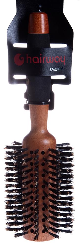 HAIRWAY Брашинг AERO на дер. основе с натур. щетиной 70ммБрашинги<br>Брашинг на деревянной основе с натуральной щитиной и разделителем прядей. Продвинутая втулка Полимерная ручка.<br>