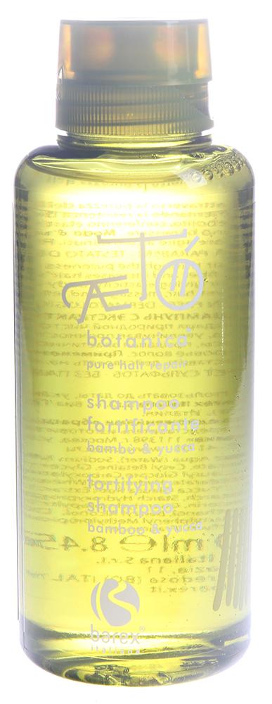 BAREX Шампунь укрепляющий с экстрактом бамбука и юкки / AETO 250млШампуни<br>Рекомендуется для нежного мытья волос, которые нуждаются в укрепляющем уходе, особенно для истощенных, ослабленных и тонких волос. Содержит экстракт бамбука, который эффективно повышает эластичность волос, защищает их от воздействия внешних факторов, оказывая укрепляющее и оживляющее воздействие. Так же содержит экстракт юкки глауки. Он богат углеводами, протеинами и аминокислотами, идеально питает ослабленные волосы. В практической медицине этот продукт так же используется для лечения артритов, воспалений, перхоти и облысения. Активные ингредиенты: экстракт бамбука, экстракт юкки глауки. Способ применения: нанести на влажные волосы, осторожно массируя. Оставить на несколько минут для воздействия. Хорошо сполоснуть. При необходимости повторить процедуру и перейти к другим продуктам укрепляющего ухода линии АЭТО.<br><br>Объем: 250<br>Вид средства для волос: Укрепляющая