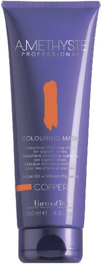 FARMAVITA Маска оттеночная copper / AMETHYSTE 250 млМаски<br>Copper - проявляет и девает более интенсивными медные оттенки. Благодаря эксклюзивной формуле, способны поддерживать или кардинально изменять косметический цвет в течение нескольких минут. Обеспечивают волосы дополнительным интенсивным питанием, благодаря наличию в составе Арганового масла. После применения волосы обретают чрезвычайную мягкость и шелковистость. Amethyste Colouring mask идеально подходит для:   оживления и сохранения косметического цвета между посещениями салона красоты   используя маску на натуральные волосы, Вы получаете более глубокий оттенок и ювелирный блеск ПРЕИМУЩЕСТВА: 1.ДЕЛИКАТНОЕ ОТНОШЕНИЕ К ВОЛОСАМ: продукт не содержит аммиака и не смешивается с оксидантом; 2.СОХРАНЕНИЕ И УСИЛЕНИЕ КОСМЕТИЧЕСКОГО ЦВЕТА; 3.ЖИВЫЕ И БЛЕСТЯЩИЕ ВОЛОСЫ: спасибо аргановому маслу (состав которого богат Витамином Е, Омега-кислотами и натуральными Токоферолами) за ни с чем несравнимое увлажнение, омоложение и укрепление волос; 4.ОЧАРОВАТЕЛЬНЫЙ АРОМАТ: придает волосам изысканность, благодаря тонкому сочетанию ноток Жасмина и Китайского чая; 5.УДОБСТВО И ПРОСТОТА ИСПОЛЬЗОВАНИЯ Активные ингредиенты: система Omnia Color: Масло из семян пенника лугового - драгоценное масло, богато природными антиоксидантами и уникальным составом жирных кислот. Помогает сохранить интенсивность цвета и блеск волос. Исследования показали, что масло проникает в волокна волос, восстанавливая структуру и повышая его прочность. Пантенол - глубоко проникает в структуру и позволяет сбалансировать естественный уровень влаги в волосах. УФ-фильтр - защищает волосы от выгорания на солнце, вымывания красителя и потускнения цвета. Олигоминеральный комплекс - комплекс олигоэлементов (кремний, магний, медь, железо, цинк), которые глубоко проникают в волокна волос и помогают восстановить поврежденные участки. Способ применения: нанесите на волосы после применения шампуня или обычной питательной маски. Время выдержки от 5 до 15 минут в зависимости