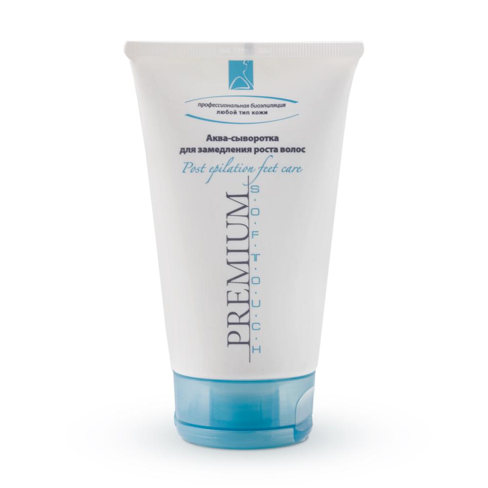 PREMIUM Аква-сыворотка для замедления роста волос / Softouch 150млСыворотки<br>Сыворотка применяется для эффективной коррекции роста волос в области бедер и голеней. Активными биокомпонентами, замедляющими рост волос являются фитоэстрогены, входящие в состав экстрактов: кудзо, клевера, люцерны, хмеля, солодки. Гликолевая кислота обеспечивает высокие энхансерные свойства препарата. Аква-сыворотка увлажняет кожу, не стимулируя темп роста волос. Курсовое применение сыворотки способствует уменьшению роста волос и их толщины. Активные ингредиенты: вода очищенная, масло парфюмерное, глицерин, масло кукурузное, кислота гликолевая, воск эмульсионный, смола ксантановая, сорбитол и экстракт дрожжей, пропиленгликоль, экстракт клевера, экстракт люцерны, экстракт хмеля, экстракт солодки, метилизотиазолинон, йодопропинилбутилкарбамат, экстракт кудзу, Oxynex 2004  (пропиленгликоль, гидрокситолуена бутилат, аскорбилпальмитат, глицерилстеарат, кислота лимонная). Способ применения: наносить на очищенную кожу массажными движениями после эпиляции.<br><br>Объем: 150