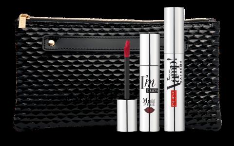 PUPA Набор продуктов для макияжа / VAMP! MASCARA EXTREME & I'M MATT LIP FLUID 12 мл + 4 мл тушь для ресниц pupa vamp extreme mascara 050