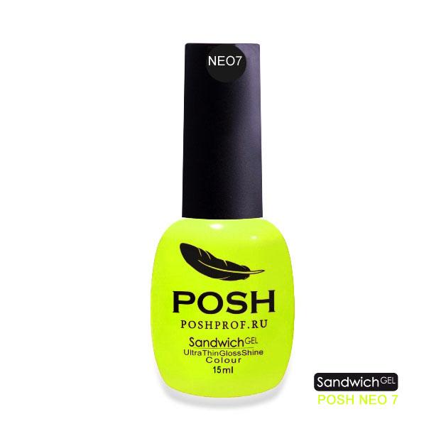 Купить POSH NEO7 гель-лак неоновый на 25 дней Лимон-Неон / SENDVICH GEL UV/LED 15 мл, Желтые