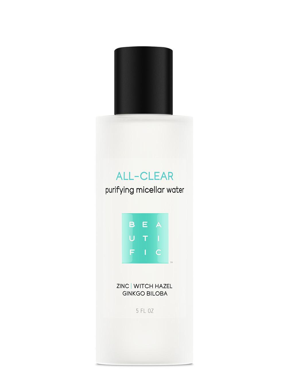 BEAUTIFIC Вода мицеллярная для жирной и проблемной кожи с цинком, гингко билоба и гамамелисом / ALL-CLEAR 150 мл