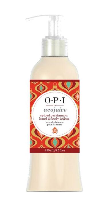 OPI Лосьон для рук и тела  OPI Avojuice Skin Quenchers Spiced Persimmon Hand &amp; Body lotion  250млЛосьоны<br>Лосьон для рук и тела - Пряная хурма. Лосьоны Аводжус обеспечат необходимый тонус вашей коже и защиту от токсинов на весь день. Натуральные фруктовые и растительные экстракты мгновенно увлажняют и питают кожу, витамины-антиоксиданты предотвращают ее старение. Формула лосьона быстро абсорбируется поверхностью кожи, делая ее шелковистой и мягкой.<br><br>Объем: 250 мл<br>Назначение: Старение