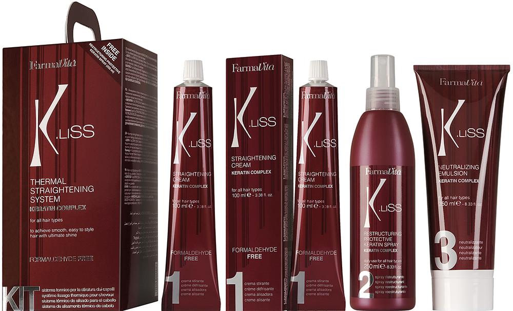 FARMAVITA Состав для теплового выпрямления волос с кератином в наборе / K.Liss Termal Straightening system KIT