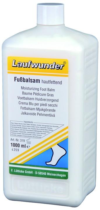 LAUFWUNDER Бальзам для ног увлажняющий 1000млБальзамы<br>Бальзам - косметический продукт по уходу за ногами, основу которого составляют экстракты гаммамелиса и ромашки, которые оказывают противовоспалительное, ранозаживляющее и успокоительное действие, укрепляют стенки сосудов, придают коже тонус и эластичность. Бальзам обладает дезодорирующим действием, нормализует потоотделение. Бальзам оказывает длительное действие, при регулярном применении Ваша кожа будет здоровой и мягкой. Состав: экстракты гаммамелиса и ромашки. Способ применения: наносить вечером на чистую и сухую кожу.<br><br>Объем: 1000<br>Вид средства для тела: Увлажняющий