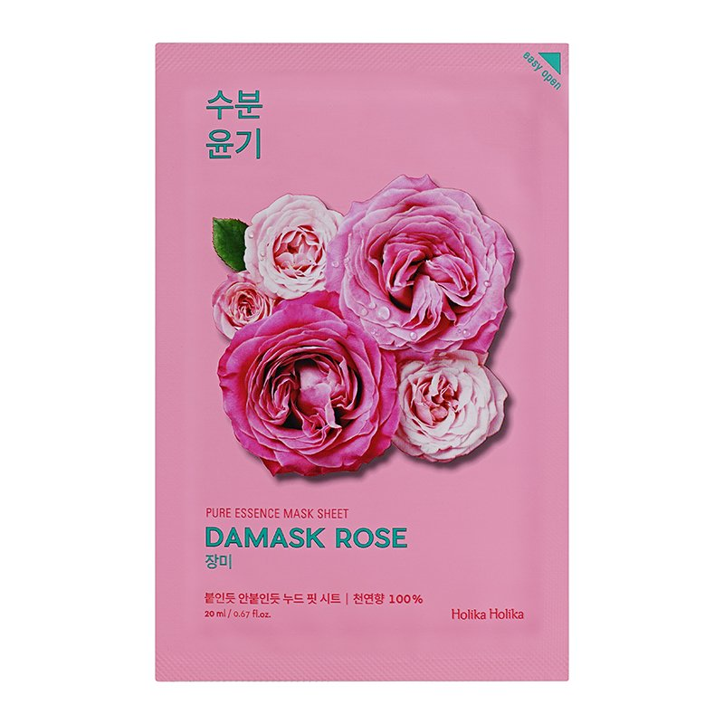 HOLIKA HOLIKA Маска тканевая увлажняющая (дамасская роза) Пьюр Эссенс / Pure Essence Mask Sheet Damask Rose 20мл