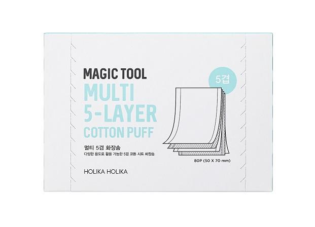 HOLIKA HOLIKA Салфетки хлопковые многослойные (5-слоев) для лица Мэджик Тул / Magic Tool Multi Cotton Pads 80 шт - Ватная продукция