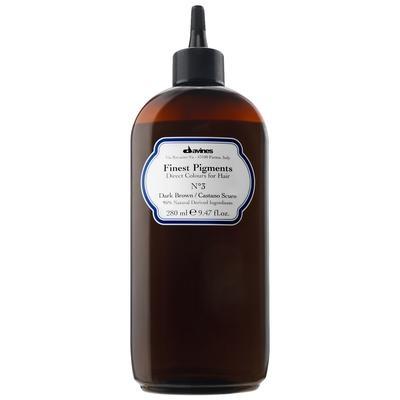 DAVINES SPA Краска для волос Прямой пигмент  3 Dark Brown-Темно-коричневый / FINEST PIGMENTS 280млКраски<br>Davines Finest Pigments &amp;mdash; это гибкая система окрашивания, которая позволяет применять все оттенки в чистом виде или смешивать их между собой. Природный состав этой краски позволяет использовать его сразу после химической завивки или после обработки смягчающими средствами. Davines Finest Pigments заполняет собой неровности и шероховатости волоса, особенно выраженные у травмированных, секущихся и пересушенных волос, за счет чего они становятся гладкими, эластичными и блестящими. Тоненькая пленка, обволакивающая каждый волос, запирает пигменты, проникшие из Davines Finest Pigments в волос, не давая им вымываться, надолго сохраняя цвет, делая волосы защищенными, придавая волосам дополнительную толщину а, значит, густоту. Результат тонирования Davines Finest Pigments сохраняется 2-3 недели. Цвет: Dark brown-темно-коричневый. Применение: Действие Davines Finest Pigments очень похоже на известную всем процедуру ламинирования. Только сама процедура тонирования гораздо проще. Краситель необходимо наносить на чистые сухие волосы. Время воздействия зависит от структуры и качества волос и составляет 5-20 минут. По окончании этого времени волосы следует намочить и аккуратно смыть краситель. Вот, собственно, и все. Результат же превзойдет ожидания. Волосы не только приобретут новый модный оттенок. Они станут гораздо здоровее   вы это увидите и почувствуете.<br><br>Объем: 280