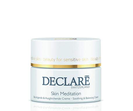 DECLARE Крем успокаивающий восстанавливающий / Skin Meditation Soothing &amp; Balancing Cream 50млКремы<br>Успокаивающий, восстанавливающий крем от Declare Skin Meditation Soothing&amp;amp;Balancing Cream снижает чувствительность кожи, устраняет негативные проявления стресса. Роскошный крем содержит фитокомплекс на основе сенсилина из льняного семени, экстракта календулы, аллантоина, бисаболола). Такая формула надежно защищает кожу от агрессивного воздействия окружающей среды, повышает ее сопротивляемость.&amp;nbsp; Активные ингредиенты: фитокомплекс Sensiline , экстракт календулы, гиалуроновая кислота, бисаболол, лецитин, витамины С и Е.&amp;nbsp; Способ применения: осторожно нанести успокаивающий восстанавливающий крем Declare на лицо и шею после процедуры очищения. Использовать утром и вечером в качестве постоянного ухода для особенно раздраженной кожи.<br><br>Типы кожи: Чувствительная