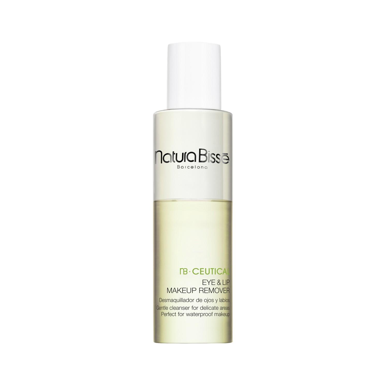 NATURA BISSE Средство двухфазное очищающее для области глаз и губ / Eye&amp;Lip Make Up Remover 100млОсобые средства<br>Очищающее средство для чувствительной кожи бережно очищает кожу от всех видов макияжа, включая водостойкую косметику, при этом сохраняет естественный pH баланс и успокаивает кожу. Активные ингредиенты: Бетаин: аминокислота, предотвращает обезвоживание кожи, успокаивает. Зеленый чай обладает успокаивающим, антистрессовым и регенерирующим эффектом. Нейтрализует действие свободных радикалов, уменьшает раздражение и сухость. Хелатирующий агент смягчает жесткость воды, поддерживает естественный PH-баланс кожи, предотвращает повреждение гидролипидной мантии. Способ применения: нанести средство на ватный диск и протереть лицо.<br><br>Возраст применения: После 25<br>Типы кожи: Чувствительная