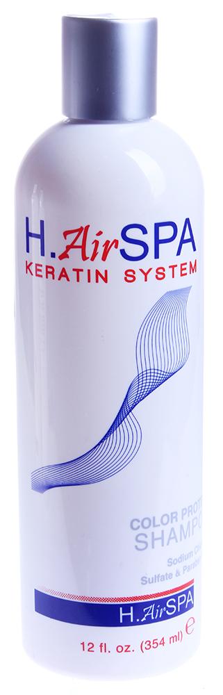 H AIRSPA Шампунь кератиновый для окрашенных волос / Color Protect Shampoo 355млШампуни<br>Создан для восстановления поврежденных окрашенных волос. Шампунь нежно очищает кожу головы и волосы, насыщая их кератином. Восстанавливает структуру поврежденных волос, придает им жизненную силу, гладкость и блеск. Для ежедневного применения. Способ применения: небольшое количество Шампуня нанесите на влажные волосы. Вспеньте. Смойте. При необходимости повторите.<br>