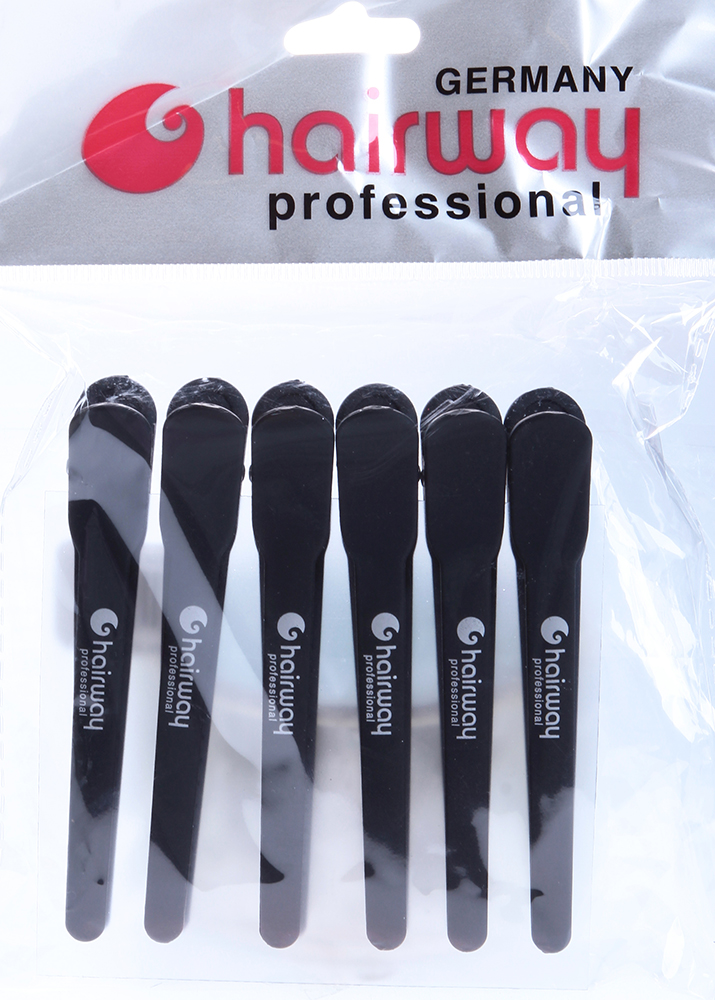 HAIRWAY Зажим карбоновый 100мм, 6шт/уп-Зажимы <br>Зажим для волос карбоновый 100 мм. 6 шт./уп.<br>