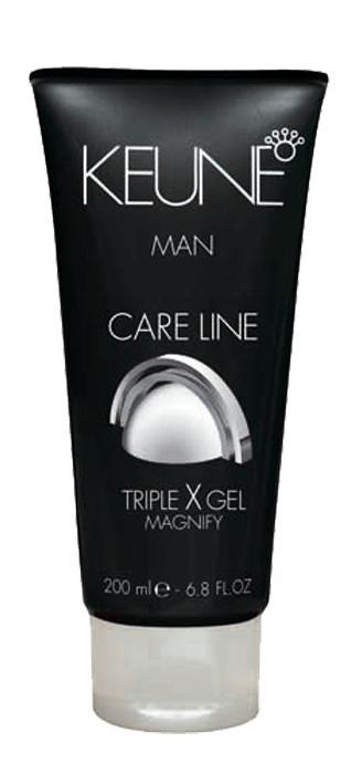 KEUNE Гель тройного действия Кэе Лайн Мен / CL TRIPLE X GEL 200млВолосы<br>Ультрасильное стайлинговое средство для придания волосам интенсивного сияющего блеска и подчеркивания их текстуры. Горный хрусталь прекрасно укрепляет волосы. А карбо-гидраторы, в свою очередь, нормализуют влажностный баланс волос. Волосы приобретут не только желанную форму, но и надежную фиксацию и природный сияющий блеск. Активный состав: Горный хрусталь, ройбос, карбо-гидраторы. Применение: Для создания эффекта мокрых волос обильно нанесите гель на чистые слегка влажные волосы и уложите по желанию. Для создания объема и контроля небольшое количество геля наносят на сухие волосы и затем моделируют прическу.<br><br>Объем: 200