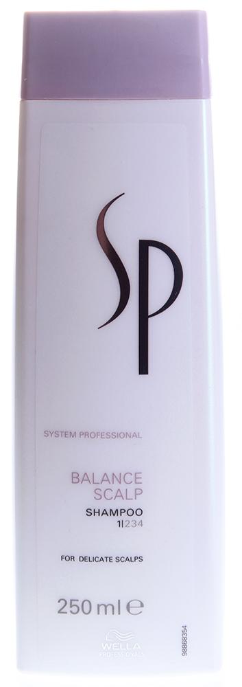 WELLA Шампунь для чувствительной кожи головы / SP Balance scalp shampoo 250млШампуни<br>Чувствительная кожа головы часто страдает от раздражения и зуда. Мягкий и деликатный шампунь от Wella очищает кожу головы и снимает воспалительные процессы. Также средство регулирует гидробаланс, способствуя оптимальному питанию и увлажнению волос. Специалисты Wella добавили в состав средства пантенол, который поддерживает необходимый уровень увлажненности.  Активные ингредиенты: Бетаин, валин, Д-пантенол.  Способ применения: Нанесите небольшое количество шампуня от Велла на влажные волосы, помассируйте кожу головы и тщательно смойте средство теплой водой. При необходимости повторите процедуру еще раз.<br><br>Тип кожи головы: Чувствительная<br>Типы волос: Для всех типов
