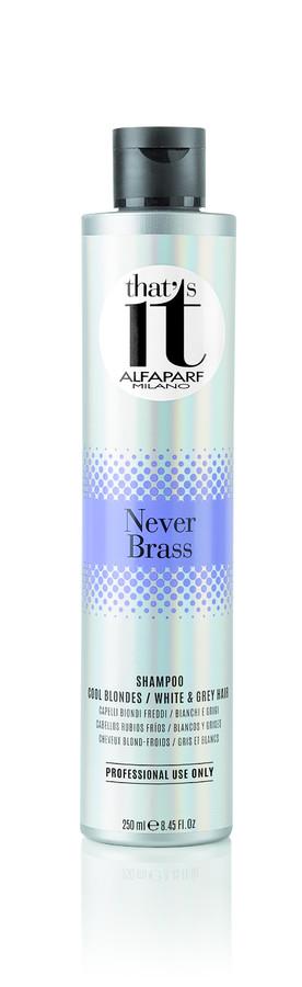 ALFAPARF MILANO Шампунь тонирующий в хол.оттенки блонд для светлых,седых волос / THATS IT NEVER BRASS SHAMPOO 250млШампуни<br>Тонирующий шампунь для натуральных и окрашенных, светлых и седых волос. Высокое содержание пигментов интенсивно нейтрализует нежелательные тёплые оттенки. Жемчужные светоотражающие частицы создают безграничную игру цвета, делая волосы блестящими и здоровыми. НЕ СОДЕРЖИТ ПАРАБЕНОВ Способ применения: нанести шампунь массирующими движениями на влажные волосы до образования пены. Тщательно смыть. При необходимости повторить процедуру, оставив шампунь на волосах на 5 минут. Тщательно вымыть руки после использования шампуня. ВНИМАНИЕ: Данный продукт может окрасить различные поверхности и одежду. Окрашенные продуктом поверхности и одежду необходимо незамедлительно промыть.<br><br>Цвет: Блонд<br>Вид средства для волос: Тонирующий