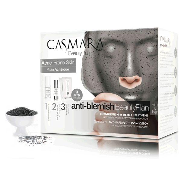 Купить CASMARA Набор Бьюти Детокс трио (матирующая увлажняющая маска 2 шт, гель Себоравновесие для лица 30 мл, очищающее средство тройного действия 100 мл)