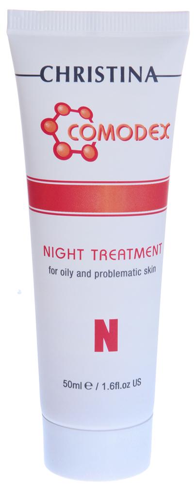 CHRISTINA Сыворотка ночная / N Night Treatment COMODEX 50млСыворотки<br>Ночная сыворотка оказывает выраженный лечебный эффект. Молочная кислота и ретинол отшелушивают кожу и регулируют формирование новой ткани. Экстракт томата и витамин PP (ниацинамид) обладают натуральной антибактериальной активностью и улучшают кровообращение. Койевая кислота осветляет кожу и предупреждает постакне-пигментацию. Состав: Деминерализованная вода, спирт SD 40, этоксидигликоль, койевая кислота, экстракт томата, гидроксиэтилцеллюлоза, молочная кислота, салициловая кислота, ниацинамид, ароматизатор, метилпарабен, ретинил пальмитат. Применение: Наносите вечером равномерным слоем на кожу, очищенную гелем Comodex A Cleansing Gel. Особое внимание уделяйте проблемным участкам.<br><br>Объем: 50<br>Класс косметики: Лечебная<br>Назначение: Акне, постакне<br>Время применения: Ночной