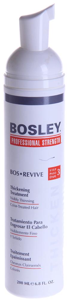 BOSLEY Уход увеличивающий густоту истонченных окрашенных волос / ВОS REVIVE (step 3) 200млМуссы<br>Eжедневный несмываемый омолаживающий и питательный уход для заметно истонченных волос.   Действие: Восстанавливает и омолаживает волосы и кожу головы благодаря Комплексу LifeXtend&amp;trade;, помогая уменьшить действие ДГТ. Утолщающая технология добавляет силу и невесомый объем. Технология ColorKeeper  продляет долговечность цвета окрашенных волос. Активные ингредиенты: LifeXtend  Комплекс. Экстракт Планктона. Color Keeper . Способ применения: Наносить ежедневно на кожу головы и волосы после применения Шампуня Питательного и Кондиционера Для Объема. Не смывать! Может вызвать временное покраснение кожи головы.<br>