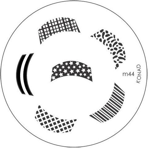 KONAD Форма печатная (диск с рисунками) / image plate M44 10грСтемпинг<br>Диск для стемпинга Конад М44 с изображениями для френч маникюра с различными узорами. Несколько видов изображений, с помощью которых вы сможете создать великолепные рисунки на ногтях, которые очень сложно создать вручную. Активные ингредиенты: сталь. Способ применения: нанесите специальный лак&amp;nbsp;на рисунок, снимите излишки скрайпером, перенесите рисунок сначала на штампик, а затем на ноготь и Ваш дизайн готов! Не переставайте удивлять себя и близких красотой и оригинальностью своего маникюра!<br>