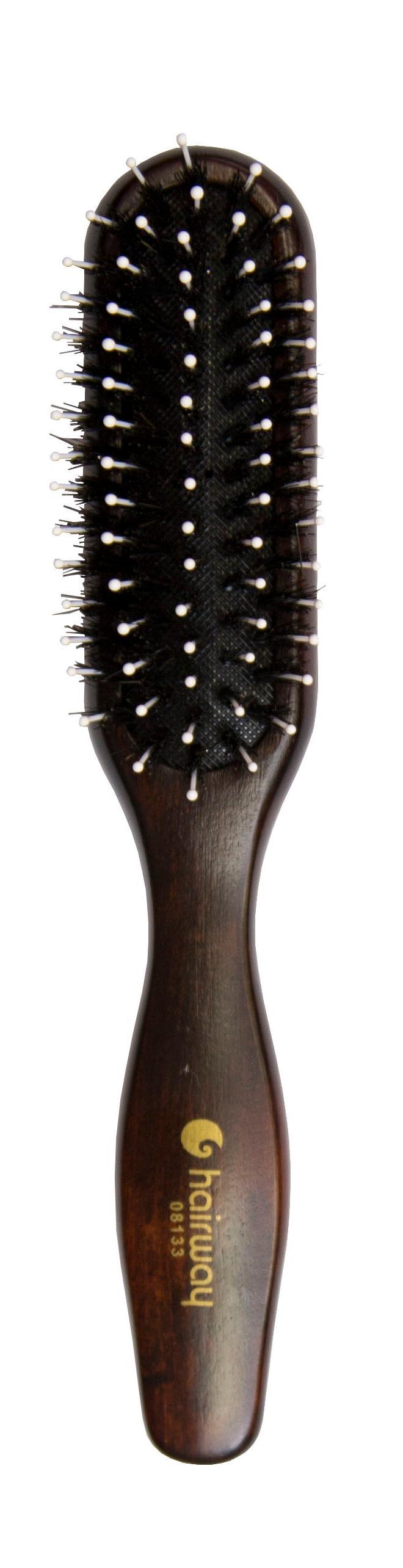 Купить HAIRWAY Щетка Lady массажная на деревянной основе с натуральной щетиной 5-рядная, прямоугольная