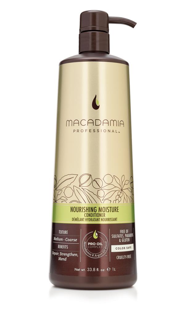 MACADAMIA PROFESSIONAL Кондиционер питательный для всех типов волос / Nourishing Moisture conditioner 1000млКондиционеры<br>Роскошная формула кондиционера Macadamia Professional с эксклюзивным комплексом PRO OIL COMPLEX с маслами макадамии и арганы, масла авокадо, лесного ореха способствуют глубокому восстановлению и увлажнению волос и кожи головы. Сочетание коллагена и аминокислот шелка укрепляют полотно волоса. Обеспечивает мягкость, блеск и защиту от негативного действия УФ-лучей. Преимущества: Восстановление и укрепление Увлажнение Сохранение цвета окрашенных волос Без сульфатов, парабенов и глютена Активные ингредиенты: Масло макадамии, Омега 7, 5 и 3 жирные кислоты обеспечивают увлажнение Масло арганы, Омега 9 жирные кислоты восстанавливают и укрепляют Масло авокадо и лесного ореха питают волосы Коллаген и аминокислоты шелка способствуют эластичности Состав: Вода,Цетеариловый спирт,Цетиловый спирт,Глицерин,Бутилен Гликоль,Диметикон,Цетримониум хлорид, Стеариловый спирт,Изопропил Пальмитат, Изогексадекан, Циклопентасилоксан, Масло макадамии, Масло жожоба, Аргановое масло, Масло лесного ореха, Масло Авокадо, Масло карите (ши), Гель Алоэ вера,Гель Алоэ вера, Пантенол, Ацетат Витамина Е, Аминокислоты Шелка, Фосфолипиды, Ретинил пальмитат (витамин А), Аскорбил Пальмитат, Растворимый коллаген, Стеаралкониум хлорид, отдушка, Поликватериум-55, Диоксид титана, Мика, Оксиды железа, Гидроксиэтил целлюлоза, Сополимер Дивини-Диметикона и Диметикона, У12-13 Парет-23, У12-13 Парет-3, Тетранатрий этилендиамин-уксусной кислоты , Феноксиэтанол, Метилхлороизотиазолин, метилизотиазолинон, Кватерниум-95, Пропандиол, Лимонная кислота, Бензил Салицилат, Бутилфенил Метилпропионал, Гексил Циннамал, Линалоол Способ применения: нанесите небольшое количество кондиционера на вымытые шампунем волосы. Оставьте для воздействия на 30 сек. Смойте.<br><br>Вид средства для волос: Питательный<br>Типы волос: Для всех типов