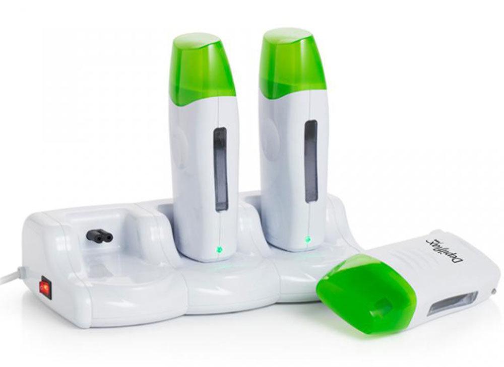 DEPILFLAX 100 Комплект из 3-х нагревателей для воска в картридже, с базой - Воскоплавы