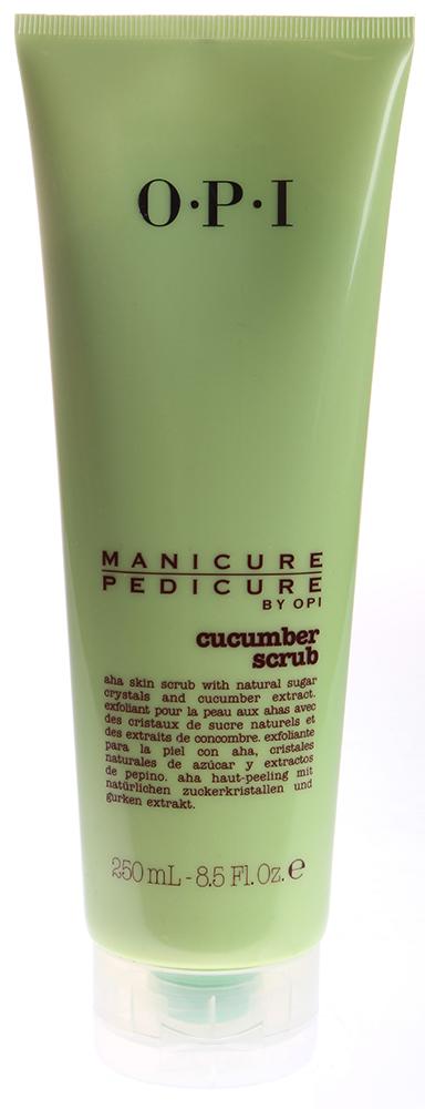 OPI Скраб для рук и ног Огурец / Manicure-Pedicure Cucumber Scrub 250млСкрабы<br>АНА -скраб с натуральными кристаллами сахара и экстрактом огурца. Входящие в формулу натуральные кристаллы сахара помогут справиться с мозолями и отшелушат сухую, ороговевшую кожу, а антиоксидантные свойства огурца и ананаса помогут ее смягчить. АНА тройного действия благодаря глубокому прониконвению сделают кожу шелковистой. Скрабы и лосьоны с ароматами кофе и чая для мягкой, шелковой кожи рук и ног! Продукция из линии &amp;laquo;Маникюр и Педикюр&amp;raquo; от OPI Кофе и Чай обогащена натуральными смягчающими веществами и эффективными растительными экстрактами.<br><br>Объем: 250<br>Назначение: Мозоли