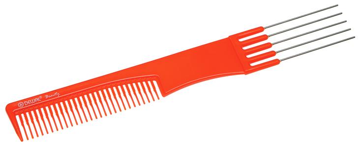 DEWAL BEAUTY Расческа для начеса, с металлическими зубцами, оранжевая 19 см